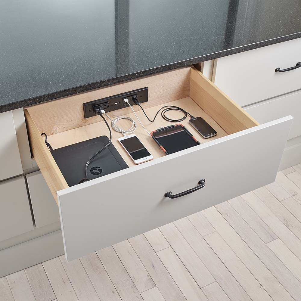 Charge your devices in a custom charging station drawer